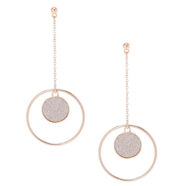 Glitter Silver Disk Drop Earrings,