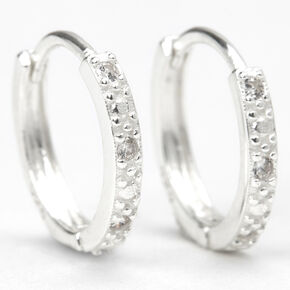 Sterling Silver 10MM Cubic Zirconia Textured Huggie Hoop Earrings,
