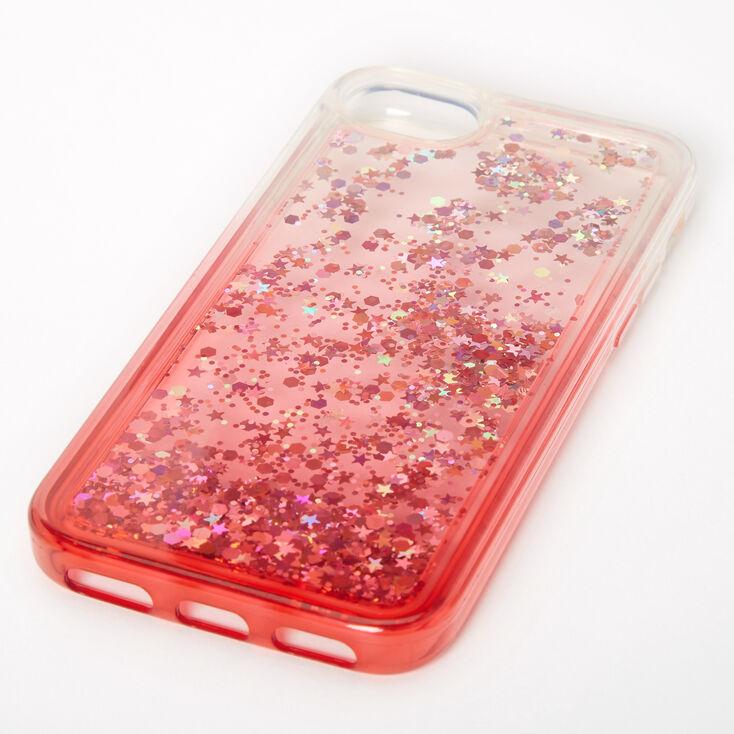 Red Glitter Star Liquid Fill Phone Case - Fits iPhone 6/7/8/SE,