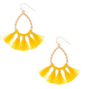 "Gold 2"" Tassel Teardrop Drop Earrings - Yellow,"