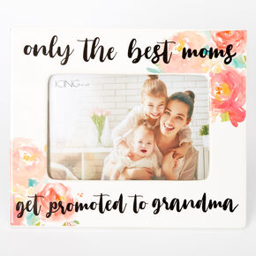 Promoted To Grandma Floral Photo Frame - White,
