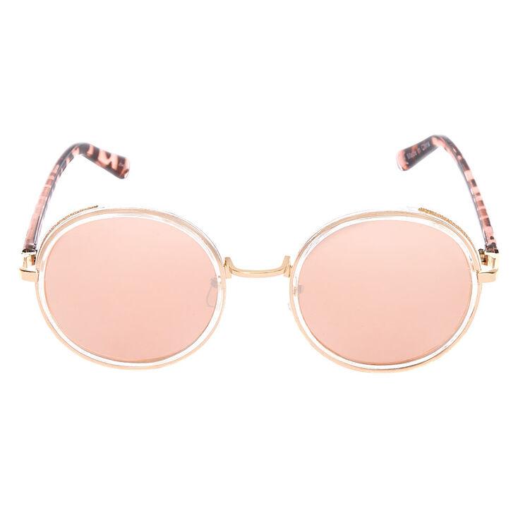 Gold Glitter Round Sunglasses - Blush,
