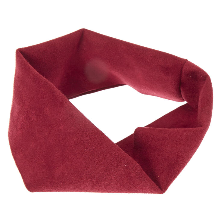 Burgundy Wide Suede Headwrap,