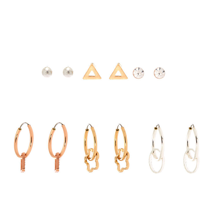 Mixed Metal Shapes Mixed Earrings - 6 Pack,