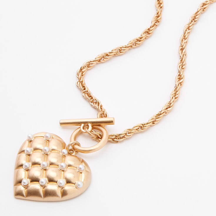 Gold Quilted Pearl Heart Pendant Necklace,