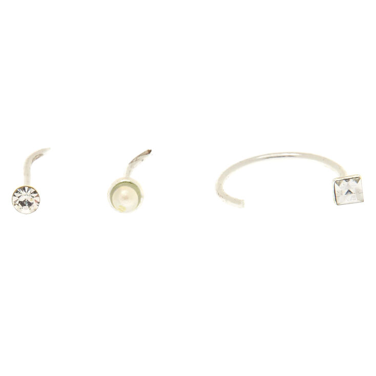 Sterling Silver Fancy Pearl Nose Studs 3 Pack,