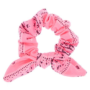 Bandana Knotted Bow Hair Scrunchie - Neon Pink,
