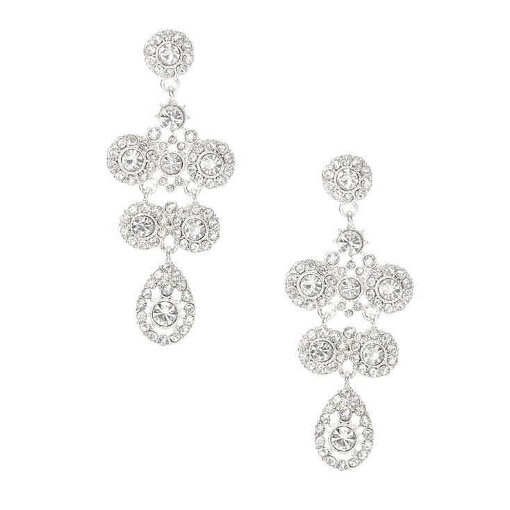 Silver Crystal Statement Drop Earrings,