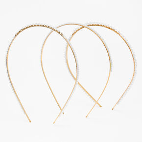 Gold Mixed Pearl Headbands - Ivory, 3 Pack,