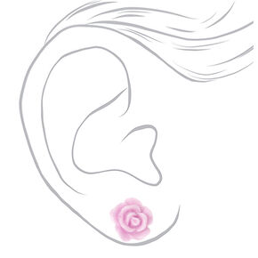 Glitter Rose Stud Earrings - Purple,