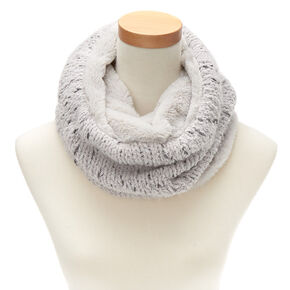 Reversible Knit Infinity Scarf - Gray,