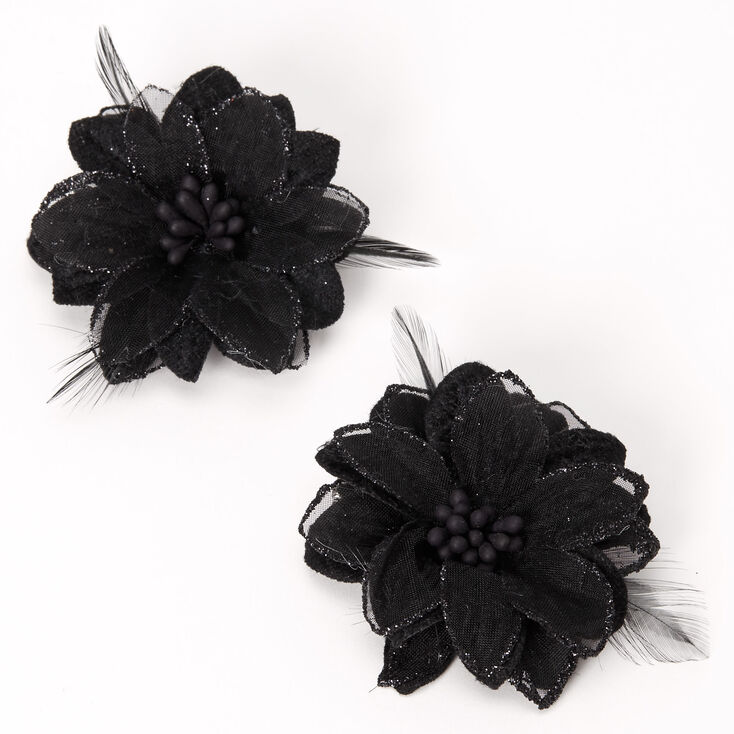 Lily Flower Hair Clips - Black, 2 Pack,