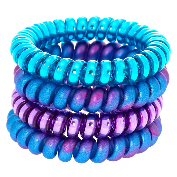 Mermaid Coil Hair Ties - Purple, 4 Pack,