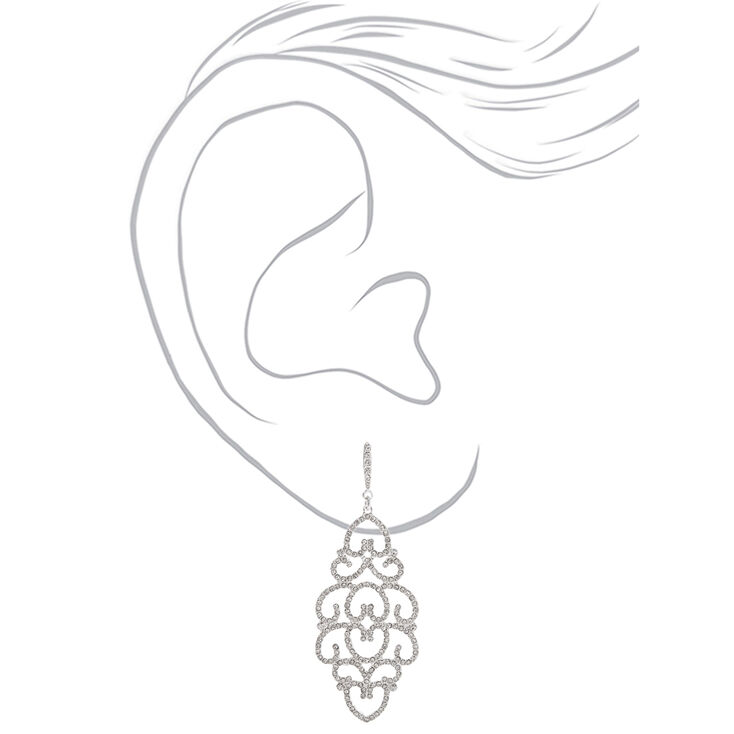 "Silver Rhinestone 2.5"" Filigree Drop Earrings,"