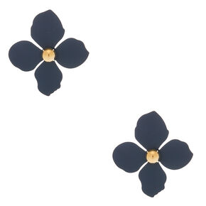 "2"" Flower Stud Earrings - Navy,"