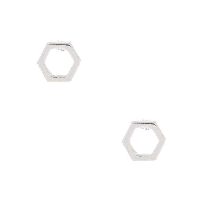 Sterling Silver Open Hexagon Stud Earrings,