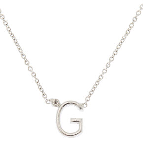Silver Stone Initial Pendant Necklace - G,