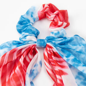 Red, White, And Blue Tie-Dye Tail Scrunchie,