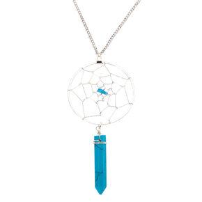 Silver Dreamcatcher Stone Long Pendant Necklace - Turquoise,