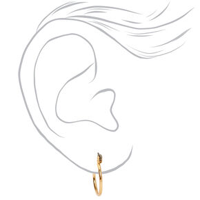 Gold Graduated Textured Hinge Hoop Earrings - 3 Pack,