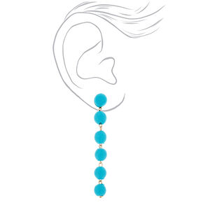"""3"""" Thread Wrapped Ball Drop Earrings - Turquoise,"""