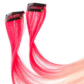 2 Pack Bubble Gum Pink Ombre Clip On Extensions,