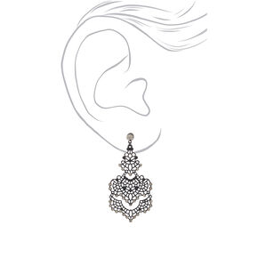 "2.5"" Filigree Chandelier Drop Earrings - Black,"
