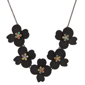 Hematite Floral Statement Necklace,