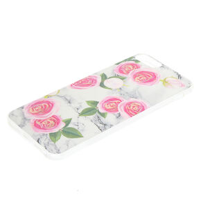 Pink Peonies Marbled Phone Case - White,