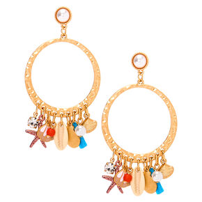 "Gold 2.5"" Shell Drop Earrings,"
