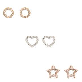 Mixed Metal Crystal Shapes Stud Earrings - 3 Pack,