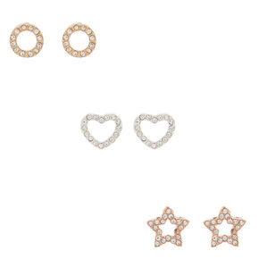 Mixed Metal Crystal Shapes Stud Earrings - 3 Pack,