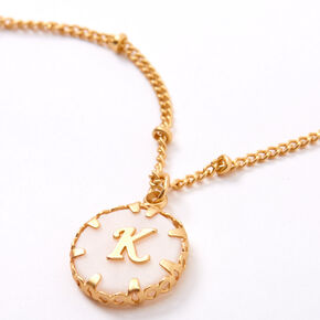 Gold Shell Initial Necklace - K,