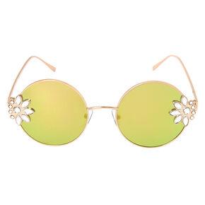 Floral Embellishment Round Sunglasses - Rose Gold,
