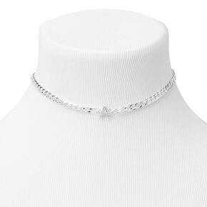 Silver Embellished Initial Chain Choker Necklace - A,
