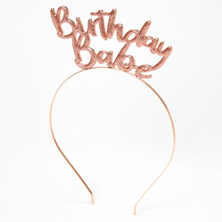 Birthday Babe Glitter Headband - Rose Gold,