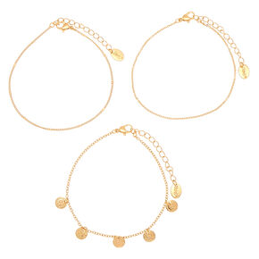 Gold Coin Charm Anklet - 3 Pack,