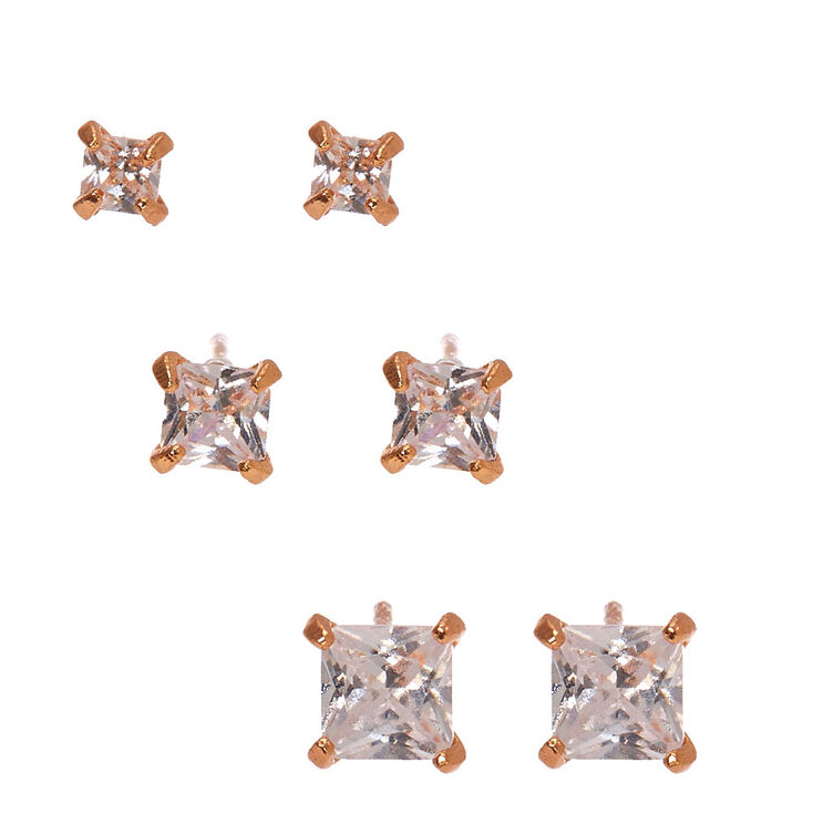 18Kt Rose Gold Plated Cubic Zirconia Earrings,