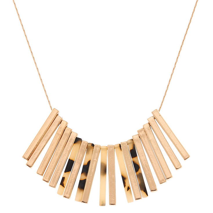 Gold Stick Resin Tortoiseshell Statement Necklace,