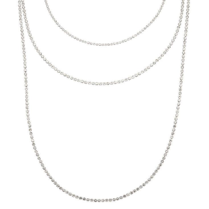 Silver Rhinestone Multi Strand Necklace,