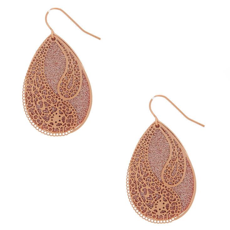 "Rose Gold 1.5"" Glitter Filigree Drop Earrings,"