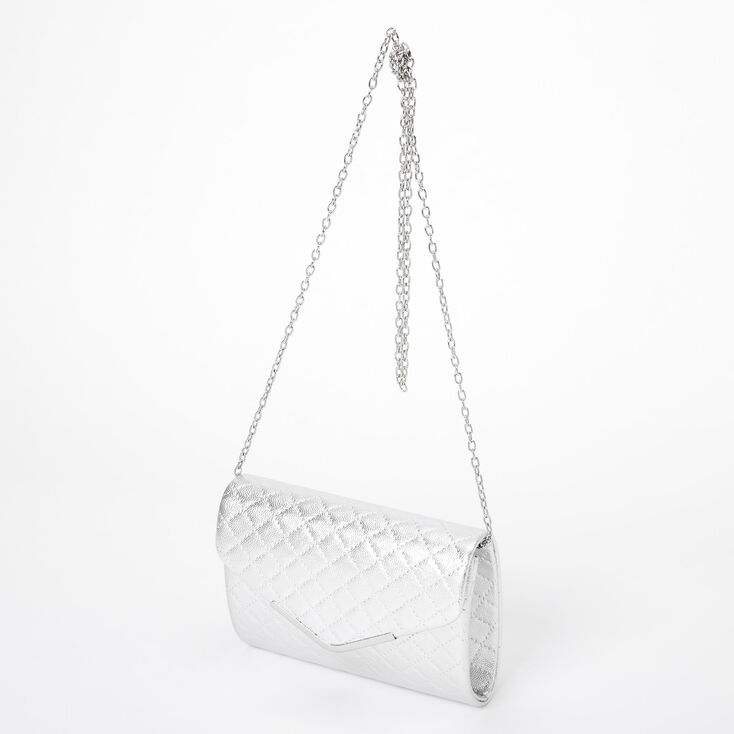 Metallic Quilted Envelope Clutch Bag - Silver,