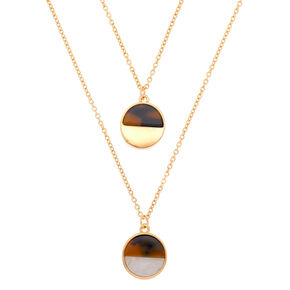 Gold Resin Tortoiseshell Pendant Necklaces - 2 Pack,