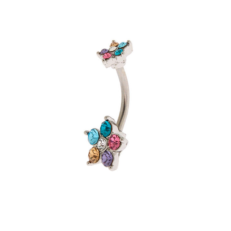 Silver 14G Rainbow Flower Belly Ring,