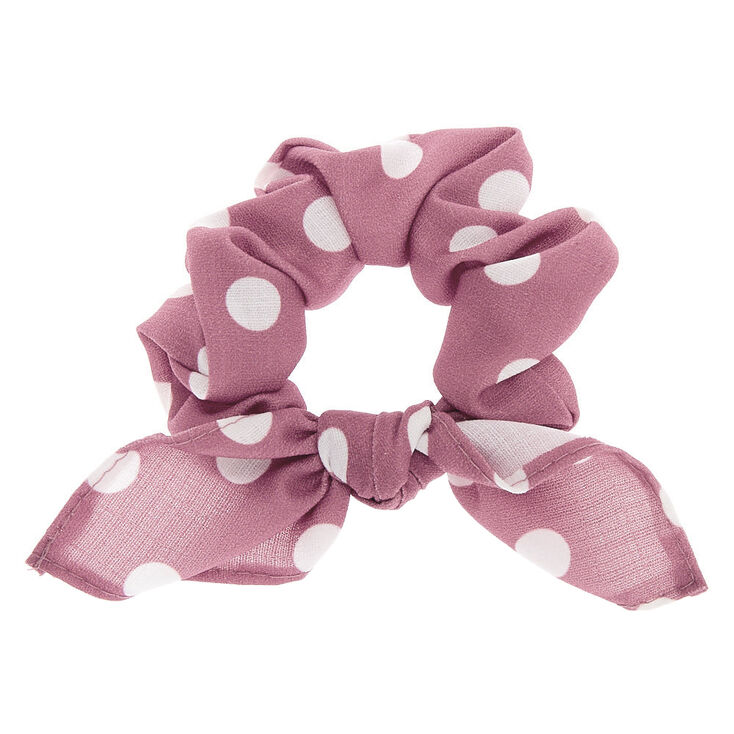 Polka Dot Knotted Bow Hair Scrunchie - Mauve,