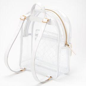 Transparent White Strap Medium Backpack,
