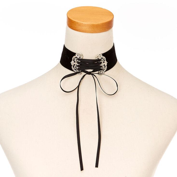Gothic Thick Black Velvet Lace Up Choker Necklace,