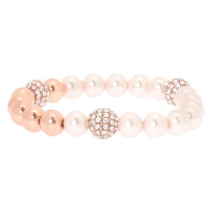 Rose Gold Pearl Stretch Bracelet,
