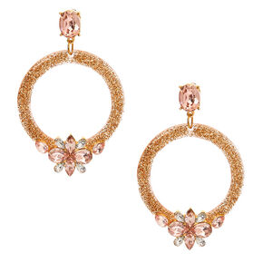 "Gold 2.5"" Glitter Drop Earrings,"