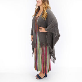 Gray Knit Fringed Poncho,